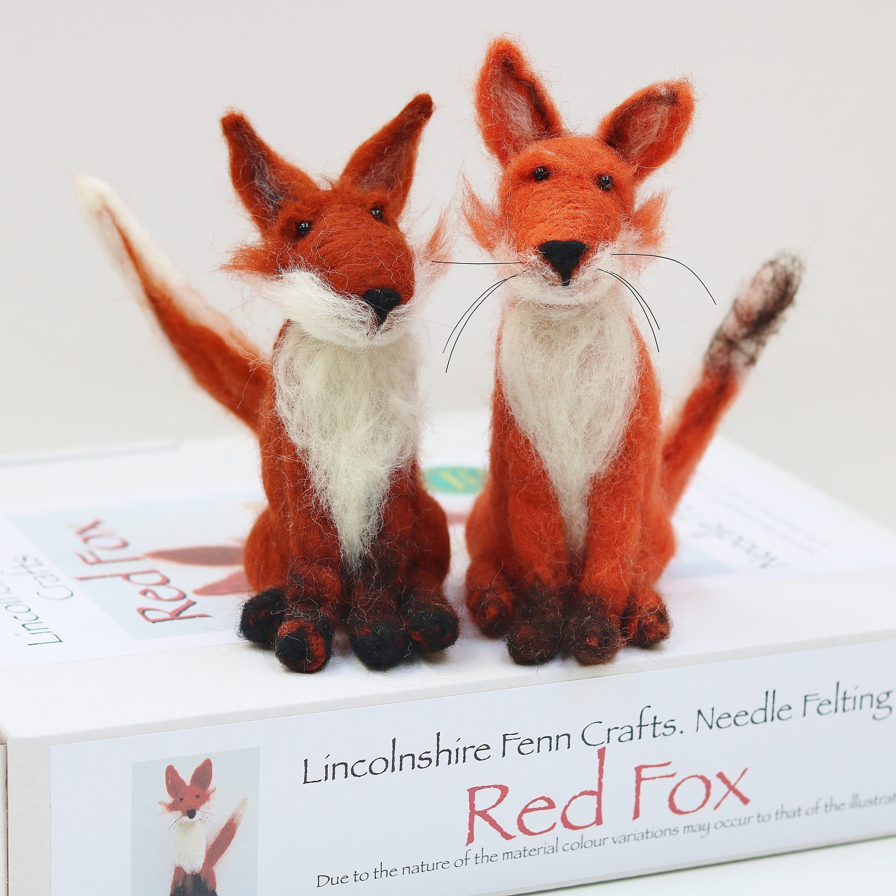 Kit to make two needle felted fox brooches with full colour EASY easy to follow instructions GRADED