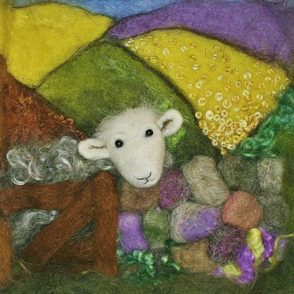 needle felted herdwick sheep landscape